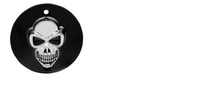 Drag Specialties 3-D Skull Points Cover for 1999 - later Twin Cam - Black with Chrome Skull
