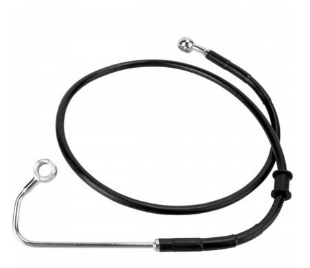 Drag Specialties Black Vinyl Coated Extended Length Front Brake Line Kit for 2011 FLSTFB with ABS - ( +8 Inches )