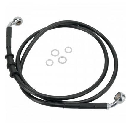 Drag Specialties Black Vinyl Coated Extended Length Front Brake Line Kit for 2010 - 2014 FXDWG NON ABS - ( +4 Inches )