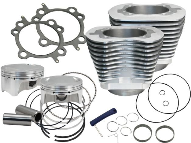 S&S 107 Cubic Inch Big Bore Kit for 2007 - 2017 Twin Cam Engines - Silver Powder Coat