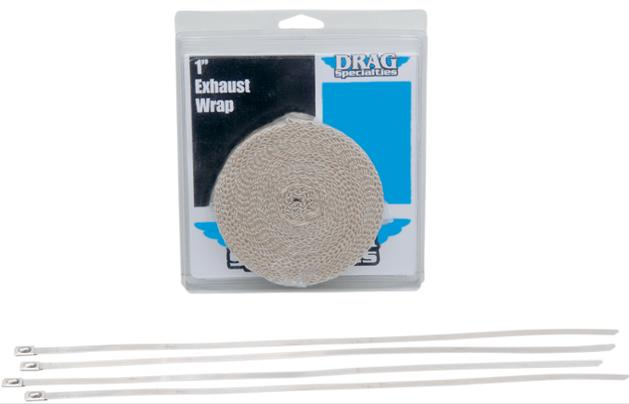 Drag Specialties Exhaust Heat Wrap Kit - 1 Inch Tan x 25 Feet
