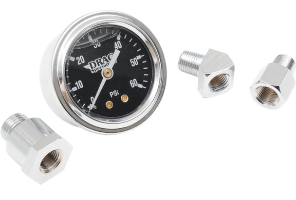 Drag Specialties 1 3/4 Inch Deluxe Liquid Filled Oil Pressure Gauge - Black Face