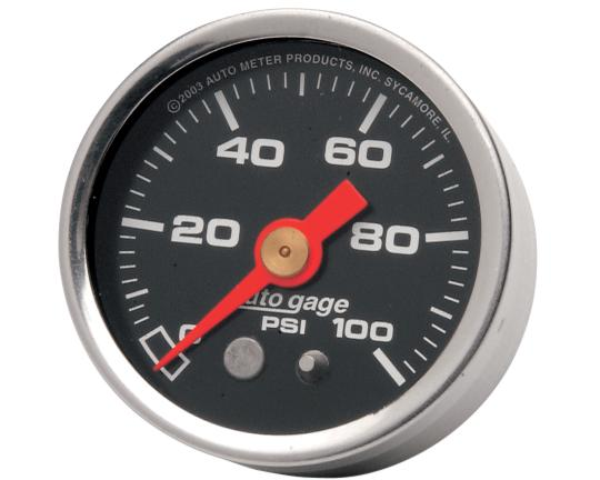 Autometer 1 5/8 Inch Liquid Filled Oil Pressure Gauge - Black Face - 100 PSI