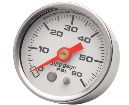 Autometer 1 5/8 Inch Liquid Filled Oil Pressure Gauge - White Face - 60 PSI