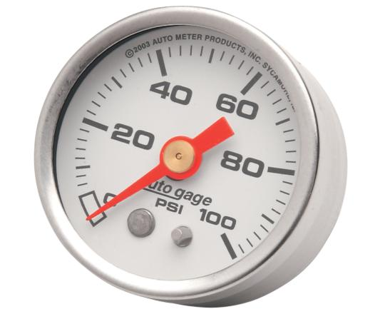 Autometer 1 5/8 Inch Liquid Filled Oil Pressure Gauge - White Face - 100 PSI