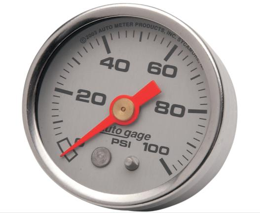 Autometer 1 5/8 Inch Liquid Filled Oil Pressure Gauge - Silver Face - 100 PSI