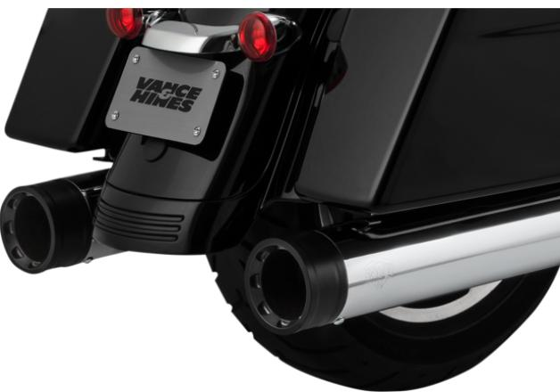 Vance and Hines Oversized 450 Destroyer Slip ON Mufflers for 2017 - UP HD Touring Models - Chrome with Black End Caps