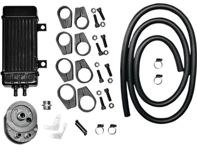 Jagg Wideline Oil Cooler Kit for Softail , Dyna , Sportster and Touring Models - Black