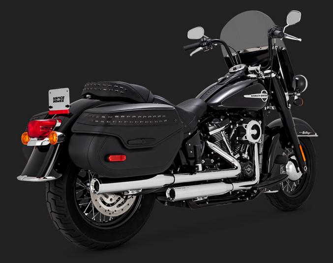 Vance and Hines Eliminator 300 Slip On Mufflers for 2018 - up Softail Deluxe - Chrome