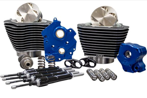 S&S Winter Power Package 124 Cubic Inch for Oil Cooled Milwaukee 8 Engines - Chain Drive with Highlighted Fins in Black
