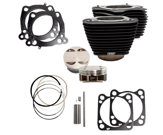 S&S 128 Cubic Inch Big Bore Kit for Milwaukee 8 114 Inch Engines - Wrinkle Black without High Lighted Fins