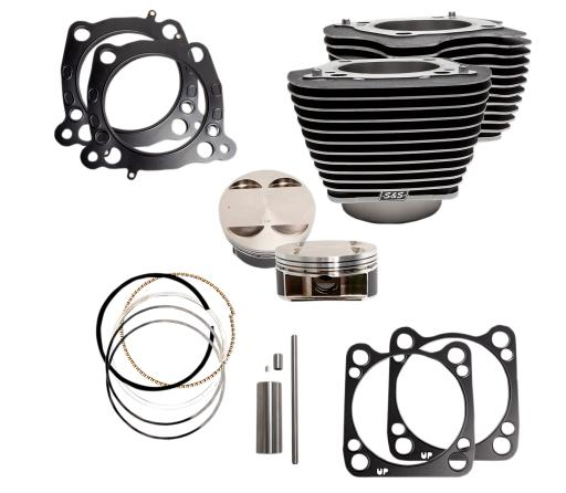 S&S 128 Cubic Inch Big Bore Kit for Milwaukee 8 114 Inch Engines - Wrinkle Black with High Lighted Fins