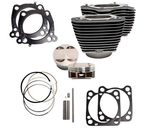 S&S 124 Cubic Inch Big Bore Kit for Milwaukee 8 107 Inch Engines - Wrinkle Black with High Lighted Fins
