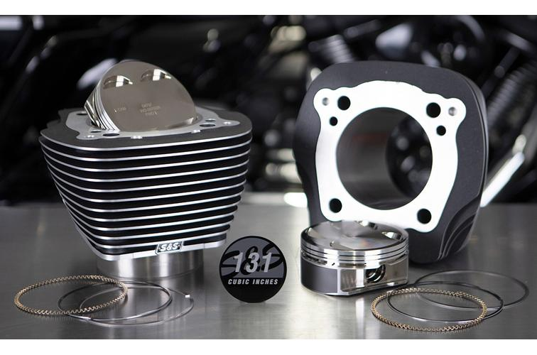 S&S Cycle 131 Inch Stroker Cylinder & Piston Kits for 2017 - 2020 M8 models - Wrinkle Black with Highlighted Fins - 0931-0973